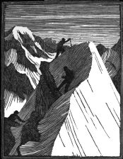 wood-engraving of Climbers on a Mountain Summit